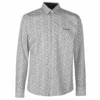 Pierre Cardin Риза С Дълъг Ръкав Floral Long Sleeve Shirts Mens Wht/Blue Leaves Мъжки ризи