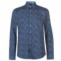 Pierre Cardin Риза С Дълъг Ръкав Floral Long Sleeve Shirts Mens Dk Blue/Wht Flr Мъжки ризи