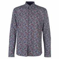 Pierre Cardin Риза С Дълъг Ръкав Floral Long Sleeve Shirts Mens Nvy/Red Floral Мъжки ризи