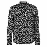 Pierre Cardin Риза С Дълъг Ръкав Floral Long Sleeve Shirts Mens Blk/Wht/BlueFlr Мъжки ризи
