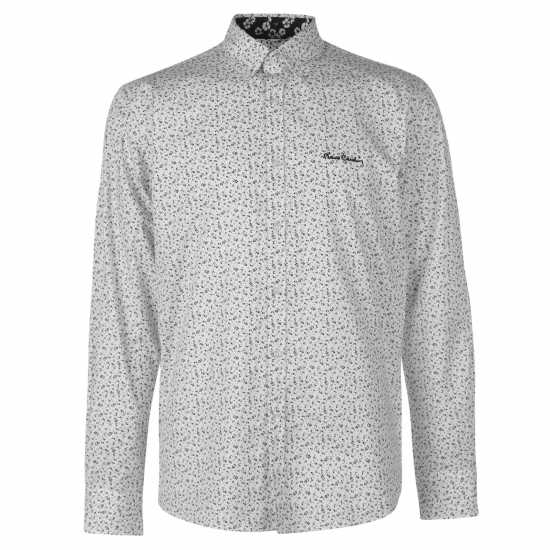 Pierre Cardin Риза С Дълъг Ръкав Floral Long Sleeve Shirts Mens Wht/Blk MiniFlr Мъжки ризи