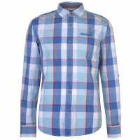 Soulcal Карирана Риза Дълъг Ръкав Long Sleeve Check Shirt Mens Blue/White/Red Мъжки ризи