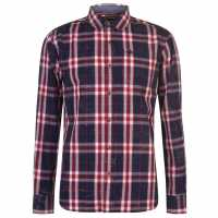 Soulcal Карирана Риза Дълъг Ръкав Long Sleeve Check Shirt Mens Navy/Red/White Мъжки ризи