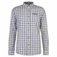 Soulcal Карирана Риза Дълъг Ръкав Long Sleeve Check Shirt Mens Sky/Navy/Cream Мъжки ризи