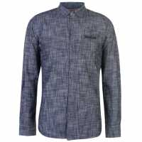 Soulcal Дънкова Риза Long Sleeve Denim Shirt Mens Indigo Wash Мъжки ризи