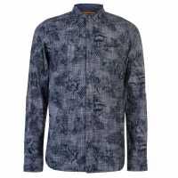 Soulcal Мъжка Риза Long Sleeve Aop Shirt Mens Navy Мъжки ризи
