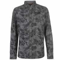 Soulcal Мъжка Риза Long Sleeve Aop Shirt Mens Charcoal Мъжки ризи