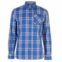Lee Cooper Карирана Риза Дълъг Ръкав Long Sleeve Check Shirt Mens Blue/White/Navy Мъжко облекло за едри хора