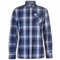 Lee Cooper Карирана Риза Дълъг Ръкав Long Sleeve Check Shirt Mens Navy/White/Blue Мъжко облекло за едри хора