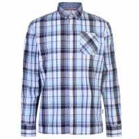 Lee Cooper Карирана Риза Дълъг Ръкав Long Sleeve Check Shirt Mens White/Navy/Blue Мъжко облекло за едри хора