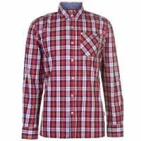 Lee Cooper Карирана Риза Дълъг Ръкав Long Sleeve Check Shirt Mens Red/White/Navy Мъжко облекло за едри хора