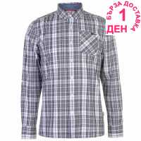 Lee Cooper Карирана Риза Дълъг Ръкав Long Sleeve Check Shirt Mens Grey/Blk/White Мъжко облекло за едри хора