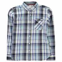 Lee Cooper Карирана Риза Long Sleeve Checked Shirt Junior Boys White/Navy/Blue Детски ризи