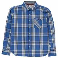 Lee Cooper Карирана Риза Long Sleeve Checked Shirt Junior Boys Blue/White/Navy Детски ризи