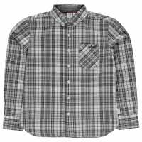 Lee Cooper Карирана Риза Long Sleeve Checked Shirt Junior Boys Grey/Blk/White Детски ризи