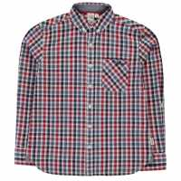 Lee Cooper Карирана Риза Long Sleeve Checked Shirt Junior Boys Blu/Red/Wht/Nav Детски ризи