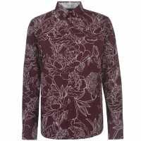 Pierre Cardin Мъжка Риза Дълъг Ръкав Large Floral Print Long Sleeve Shirt Mens Burgundy Мъжко облекло за едри хора