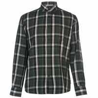 Pierre Cardin Мъжка Риза Long Sleeve Twill Shirt Mens Forest/Black