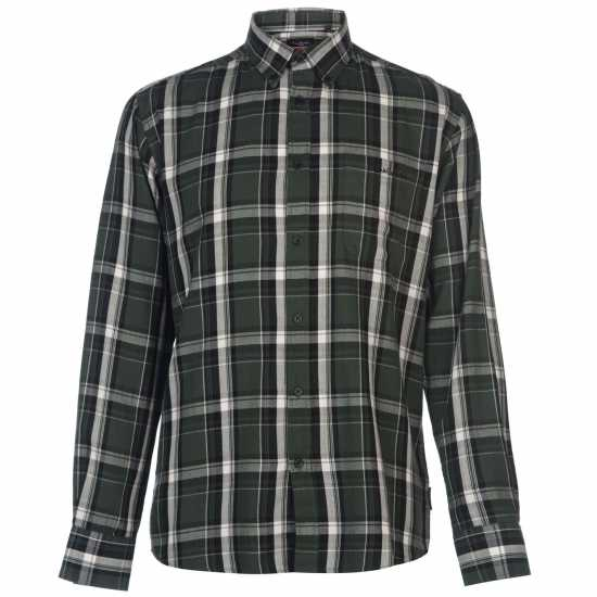 Pierre Cardin Мъжка Риза Long Sleeve Twill Shirt Mens Forest/Black Мъжки ризи