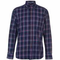 Pierre Cardin Карирана Риза Дълъг Ръкав Long Sleeve Check Shirt Mens Navy/Red/Blue Мъжки ризи