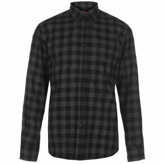 Pierre Cardin Карирана Риза Дълъг Ръкав Long Sleeve Check Shirt Mens Black/Charcoal Мъжки ризи