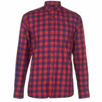 Pierre Cardin Карирана Риза Дълъг Ръкав Long Sleeve Check Shirt Mens Navy/Red Мъжки ризи