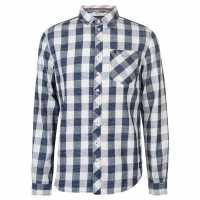 Soulcal Карирана Риза Дълъг Ръкав Deluxe Long Sleeve Check Shirt White/Blue Мъжки ризи