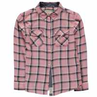Soulcal Long Sleeve Flash Shirt Junior Girls Pink Check Детски ризи