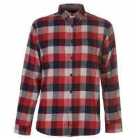 Pierre Cardin Карирана Риза Дълъг Ръкав Long Sleeve Check Shirt Mens Red/Nvy/Wht Мъжки ризи