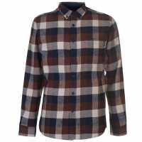 Pierre Cardin Карирана Риза Дълъг Ръкав Long Sleeve Check Shirt Mens Brn/Nvy/Wht Мъжки ризи