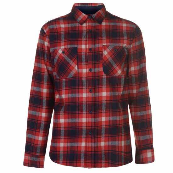 Pierre Cardin Карирана Риза Дълъг Ръкав Long Sleeve Check Shirt Mens Red/Navy Мъжки ризи