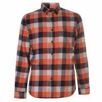 Pierre Cardin Карирана Риза Дълъг Ръкав Long Sleeve Check Shirt Mens Ornge/Navy/Wht Мъжки ризи
