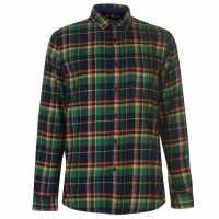 Pierre Cardin Карирана Риза Дълъг Ръкав Long Sleeve Check Shirt Mens Nvy/Grn/Orange Мъжки ризи