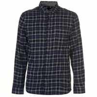 Pierre Cardin Фланелена Риза Long Sleeve Flannel Shirt Mens Black/Navy/Wht Мъжки ризи