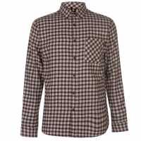 Pierre Cardin Фланелена Риза Long Sleeve Flannel Shirt Mens Brown/Off White Мъжки ризи