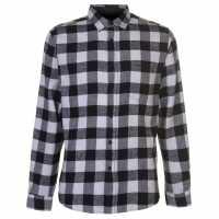 Pierre Cardin Фланелена Риза Long Sleeve Flannel Shirt Mens Black/White Мъжки ризи