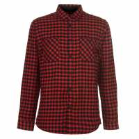 Pierre Cardin Фланелена Риза Long Sleeve Flannel Shirt Mens Red/Black Мъжки ризи