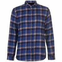 Pierre Cardin Фланелена Риза Long Sleeve Flannel Shirt Mens Blu/Nvy/Wht/Org Мъжки ризи