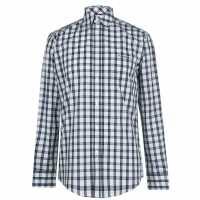 Pierre Cardin Карирана Мъжка Риза Check Long Sleeve Shirt Mens Navy/White Мъжко облекло за едри хора