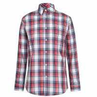 Pierre Cardin Карирана Мъжка Риза Check Long Sleeve Shirt Mens Navy/Red/Wht Мъжко облекло за едри хора