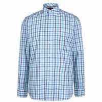 Pierre Cardin Карирана Мъжка Риза Check Long Sleeve Shirt Mens Navy/Sky/Wht Мъжко облекло за едри хора