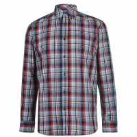 Pierre Cardin Карирана Риза Дълъг Ръкав Long Sleeve Check Shirt Mens Navy/Blue/Red Мъжко облекло за едри хора