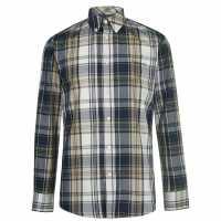 Pierre Cardin Карирана Риза Дълъг Ръкав Long Sleeve Check Shirt Mens Navy/Tan/Ecru Мъжко облекло за едри хора