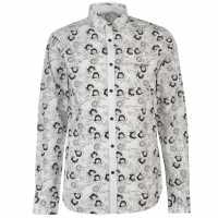 Pierre Cardin Мъжка Риза Дълъг Ръкав Floral Print Long Sleeve Shirt Mens Wht/Blk Poppy Мъжко облекло за едри хора