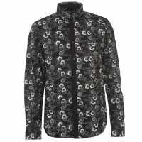 Pierre Cardin Мъжка Риза Дълъг Ръкав Floral Print Long Sleeve Shirt Mens Blk/Wht Poppy Мъжко облекло за едри хора