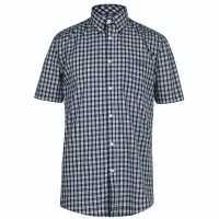 Pierre Cardin Карирана Мъжка Риза Short Sleeve Micro Check Shirt Mens Navy Check Мъжко облекло за едри хора