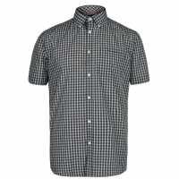 Pierre Cardin Карирана Мъжка Риза Short Sleeve Micro Check Shirt Mens Grn Mini Check Мъжко облекло за едри хора