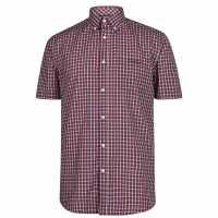 Pierre Cardin Карирана Мъжка Риза Short Sleeve Micro Check Shirt Mens Red Mini Check Мъжко облекло за едри хора