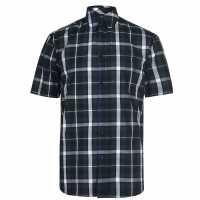 Pierre Cardin Мъжка Риза Къс Ръкав Check Print Short Sleeve Shirt Mens Navy/Blue/ Whte Мъжко облекло за едри хора