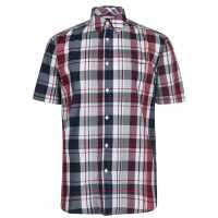 Pierre Cardin Мъжка Риза Къс Ръкав Check Print Short Sleeve Shirt Mens Navy/Burg/Wht Мъжко облекло за едри хора